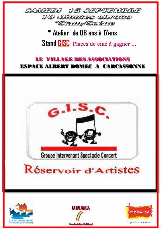 n'oubliez pas le rendez vous ,Samedi 15 Septembre de 10h à 19h   STAND GISC  - Espace Albert Domec  Village des associations