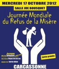 BERNARD  à la scène ouverte animé par le GISC Mercredi 17 Octobre - salle Joë Bousquet - Mairie (Ancienne), 32 rue Aimé Ramond Journée Mondiale du Refus de la Misère
