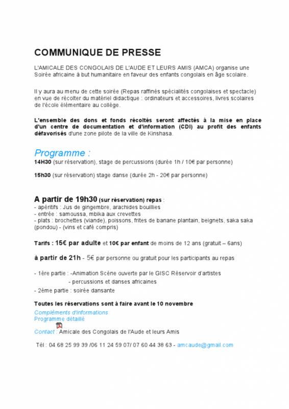 """gisc / scéne ouverte a la soirée africaine """" SAMEDI 17 NOVEMBRE 2012  AU FOYER DE MONTRENDON"""
