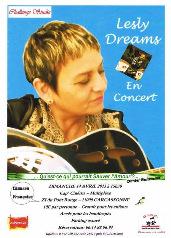 """Lesly Dreams au Cap Cinéma """"Salle concert """" le DIMANCHE 14 AVRIL 2013  """"intervenant GISC"""