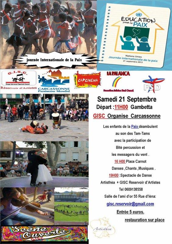 2° édition de La Journée Internationale de la Paix à Carcassonne  INTERVENANTS à la déambulation départ Gambetta 11H00 à la journée internationale de la paix