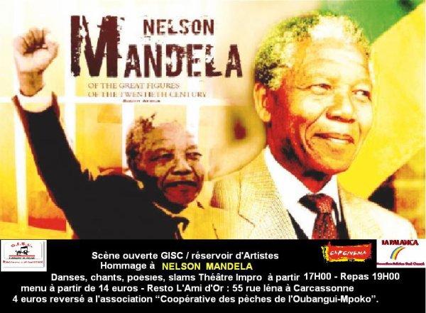 cherie fm et tv carcassonne en parle de la Soirée en hommage à Mandela samedi 4 janvier à Carcassonne organisé par le  GISC/ Réservoir d'artistes :