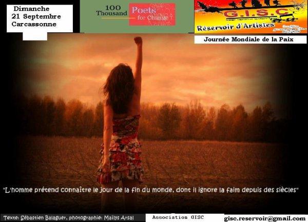 MARCHÉ  Artisanal   et  4° édition PLACE A LA DANSE *PLACE CARNOT   : GISC RESERVOIR D'ARTISTES    A CARCASSONNE.   le Dimanche 21 Septembre   2014    à  La journée internationale de la paix