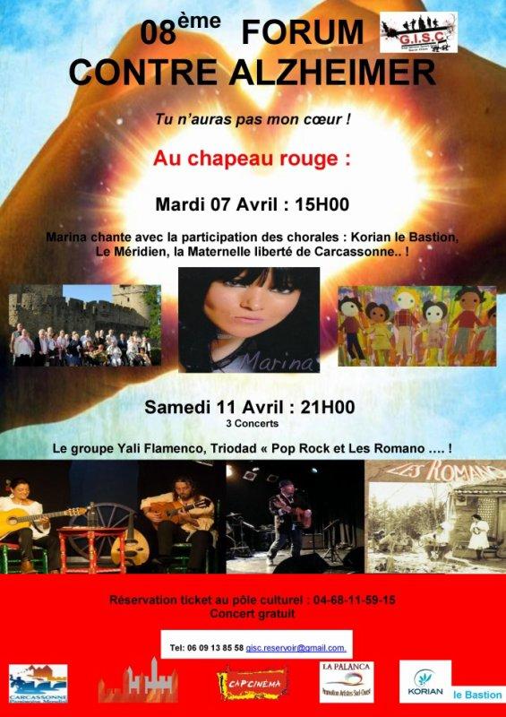 Association GISC :Reservoir d'Artistes Organise  le 8 eme Forum  Alzheimer tu n'auras pas mon C½ur : Salle du Chapeau Rouge   Le  Mardi i 07  Avril  2015 à partir de 15H00