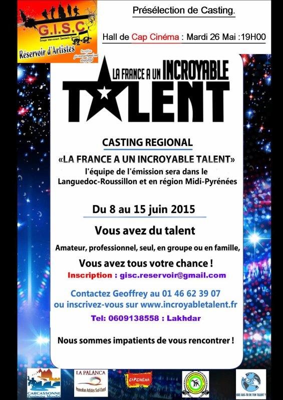 La France à un incroyable talent qui seront présent Dans la région du 8 au 15 juin,en partenariat avec l'association GISC