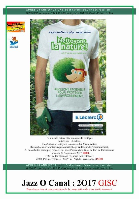 A l'occasion de Nettoyons la Nature Tu aimes la nature et tu souhaites la protéger.Association GISC .ARTS CARCASSONNAIS