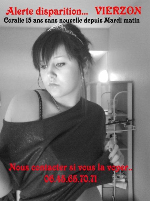 """Coralie disparue le 15 février 2011 à Vierzon """" A FAIRE CIRCULER MERCI"""""""