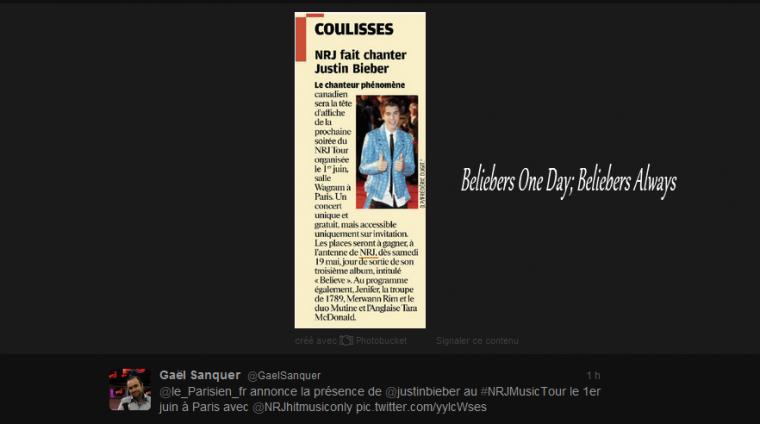 » Justin Sera En Concert Le 1er Juin A La Salle Wagram, Concert Gratuit Réservé Aux Auditeur D'NRJ ! ♥