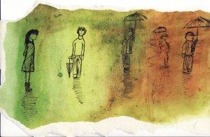 Sujet : Frailité, métamorphose et transformation de la couleur sur le lieu du miroir d'eau.