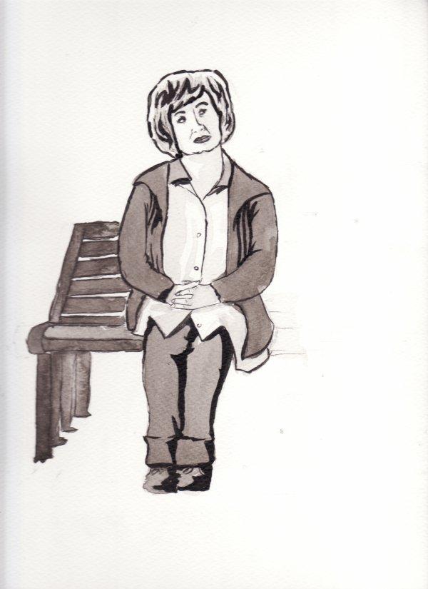 Vieille dame sur un banc.