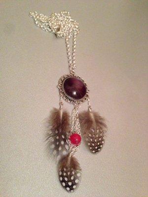 collier sautoir style dreamcatcher 3 plumes perle rose cabochon noir
