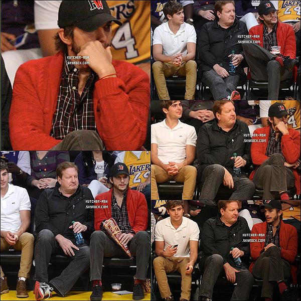 . 1 mai 2012 : Ashton a été vu comme à son habitude au match des Lakers, près de l'acteur Zac Efron à L.A. .
