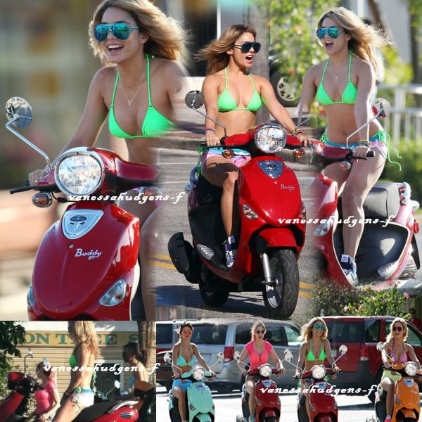 Ce 13-03-2012   Nouvelle journée pour Vanessa Hudgens et ses co-stars sur scooter en plein tournage du film spring breakers!