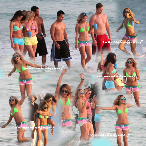 Ce 13-03-2012   Vanessa Hudgens et ses co-stars en bikini à la plage en plein tournage du film spring breakers!