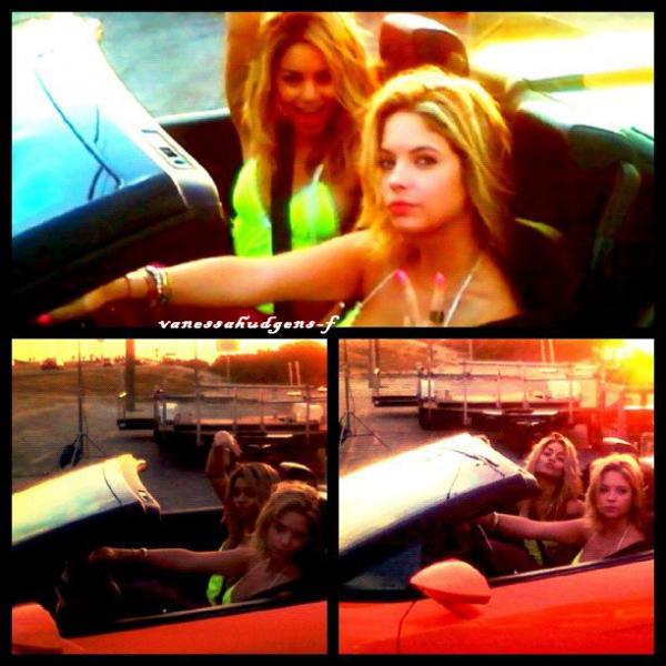 Ce 20-03-2012  Vanessa Hudgens et Ashley Benson ont été vu au volant d'une Lamborghini Orange! pour le tournage d'une scène pour son prochain film spring breakers!