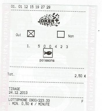 Gain Superlotto 13/12/13 ticket orange (Merci de bien garder votre ticket)