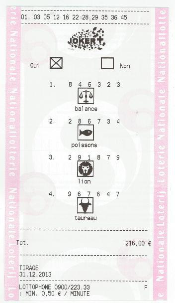 Chiffres joués SUPERLOTTO (A) 31/12/13 ticket rose mise 4.32¤