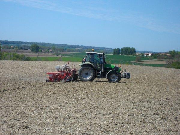 Je vous propose maintenant un chantier de semi de maïs semer cruiser avec deutz agrotron  équipé d'un gps trimble et un semoir accord de 8 rangs ensemble appartenant à un gros maïsiculteur du coin
