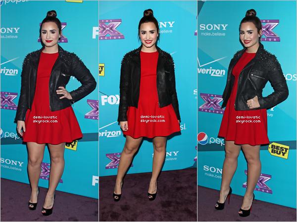 05/11/2012 : Demi a été présente à la soirée organisée en l'honneur des candidats d'X Factor.(L.A).  Elle était vraiment magnifique, un très beau rouge à lèvres