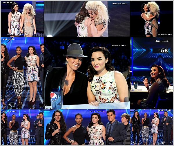 . 29/11/12 : Demi a assisté au  dixième live show d' X-Factor U.S.A .  Voir le Live Show → Live Show  •Paige Thomas a été éliminé•