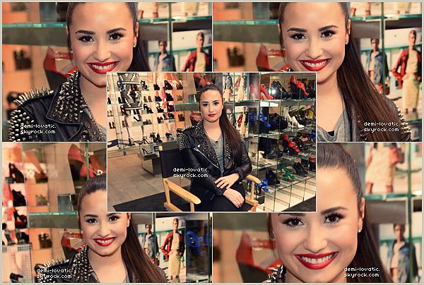 14-02-2013 : Demi à été à l'ouverture du magasin TopShop. (L.A) .
