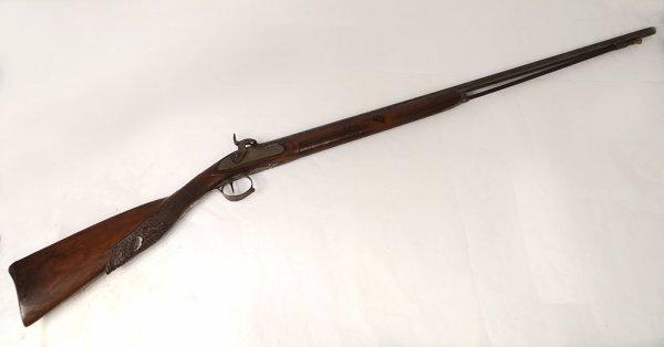 prochaine rentrée ,fusil a percussion pour le sanglier , pour les femmes (Liége) 19è siècle .