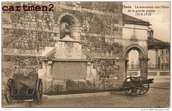 thuin ,près de lobbes en 1918 la fin de la guerre ,le monument ,teuton sur la place ..