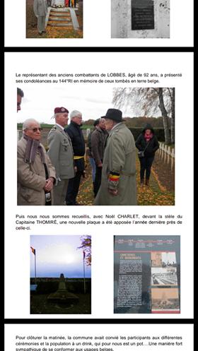 reportage du 11 novembre 1 partie réalisé par le capitaine Chapron 144è r.i de Bordeaux présent a Lobbes ,Nono