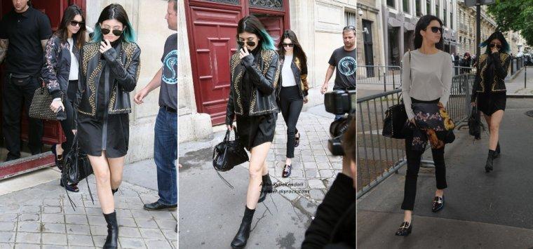 Kendall et Kylie sortant de la résidence hôtelière où logent Kim Kardashian et Kanye West, le 20 mai 2014, à Paris + Kylie et Kendall à l'aéroport de LAX, le 19 mai 2014, en direction de Paris.