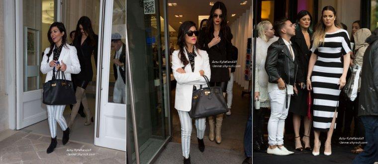 Kendall et Kylie quittant le restaurant Costes, après avoir diner avec leur famille, le 21 mai 2014, à Paris + Kendall et Kylie faisant du shopping à Paris, le 21 mai 2014, en compagnie de leur famille.