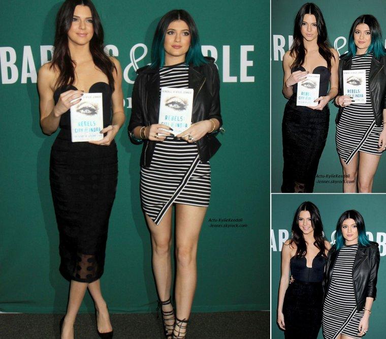 """Kendall et Kylie, en promo de leur livre, le 5 juin 2014, à Bloomington + Kendall et Kylie présentaient leur nouveau livre """"Rebels: City Of Indra"""" à la boutique Barnes & Noble à New York, le 4 juin 2014."""