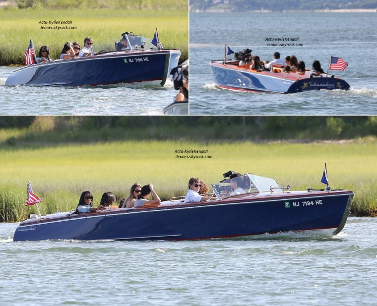 """Kendall quittant le magasin """" Juice Press """" avec son amie Hailey, le 29 juin 2014, dans les Hamptons + Kendall est allée faire un tour de bateau, avec ses soeurs, dans les Hamptons, le 29 juin 2014."""