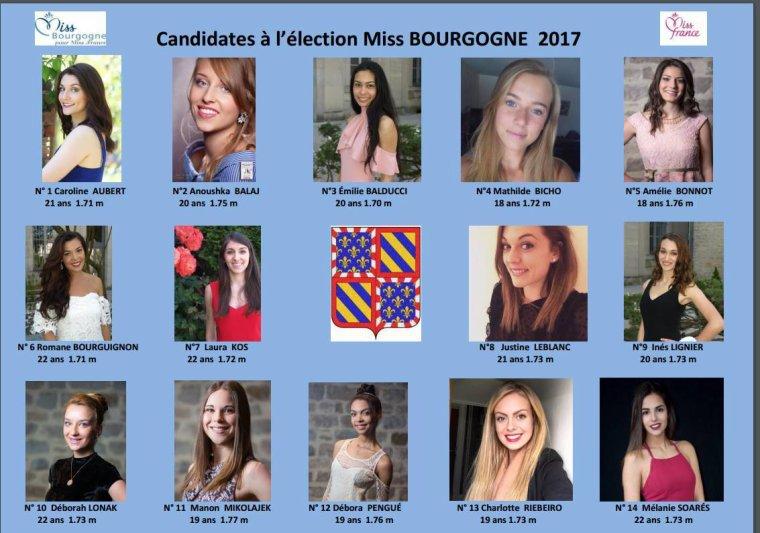 Candidates à Miss Bourgogne 2017
