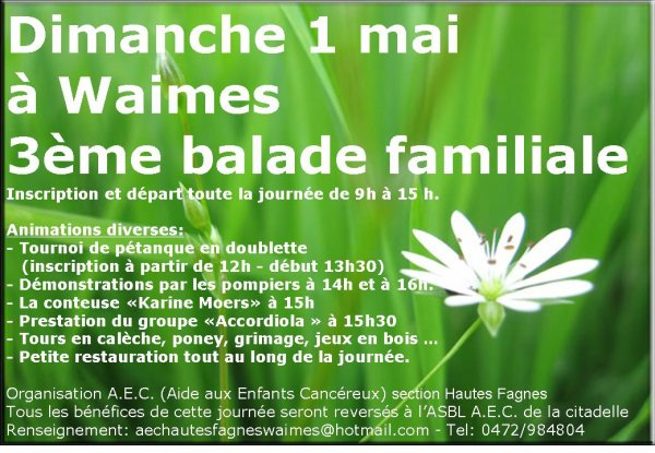 3ème balade familiale au profit de l4Asbl AEC = Aide aux Enfants Cancéreux de l'hôpital la Citadelle