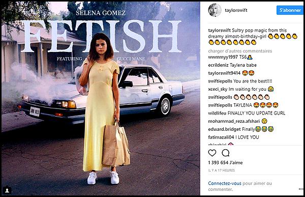 . ► Taylor a enfin donné de ses nouvelles sur Instagram , en effet depuis mai elle n'y avait rien posté ! Elle y a posté la photo du nouveau single de Selena Gomez : Fetish  . .