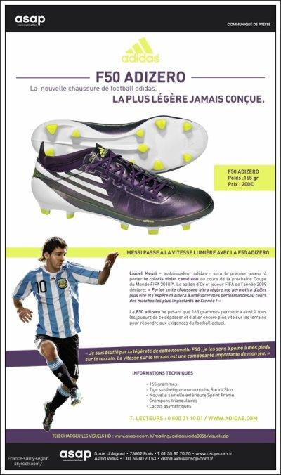 [14/03/11] Nouvaux Crampon , Adidas,Adizero F50 De Samy!