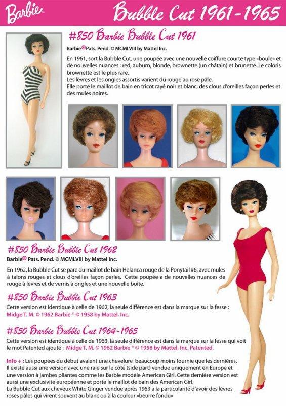 barbie bubble cut rousse 1964-65