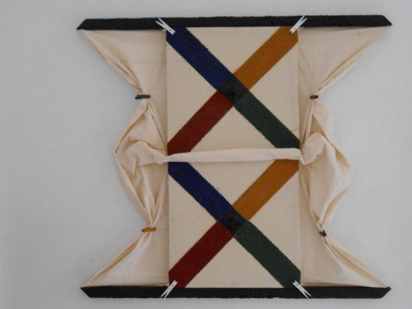 Coeur noir, huile sur toile, bois brûlé, épingles à linge, série de 6 assemblages,108x98, 2012