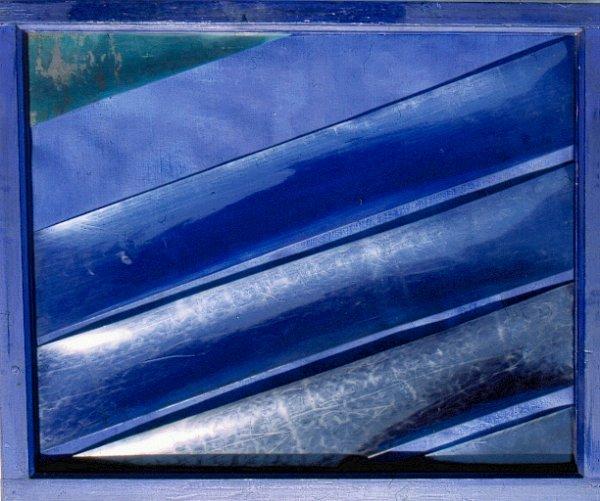 Diagonale, 5 assemblages, cadre bois, bandes plastiques, toile de jute, 2003, format 90x120