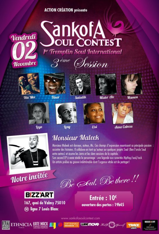 Satadik au Bizzart le 2/11 pour le Sankofa Soul Contest !!!