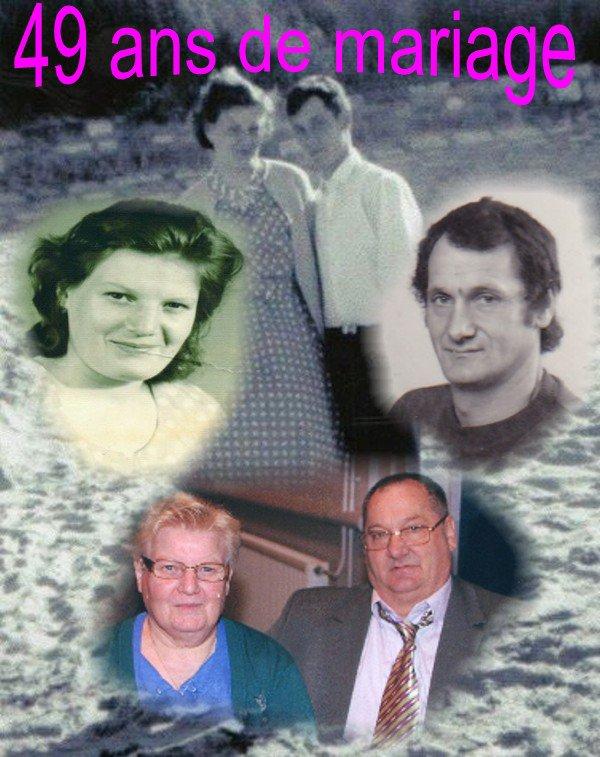 NOUS SOMMES MARIES LE 15 05 1965 ET NOUS FETONS NOS 49 ANS DE MARIAGE