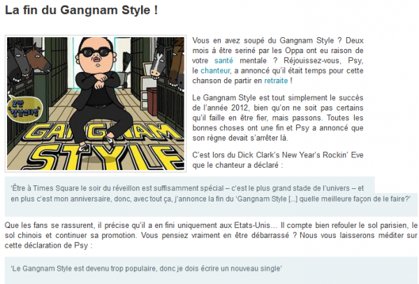 Retraite du Gangnam style