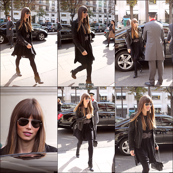 """Le 07/10 : Jessica a été aperçue arrivant à son hôtel parisien, le """"Plaza Athénée"""""""