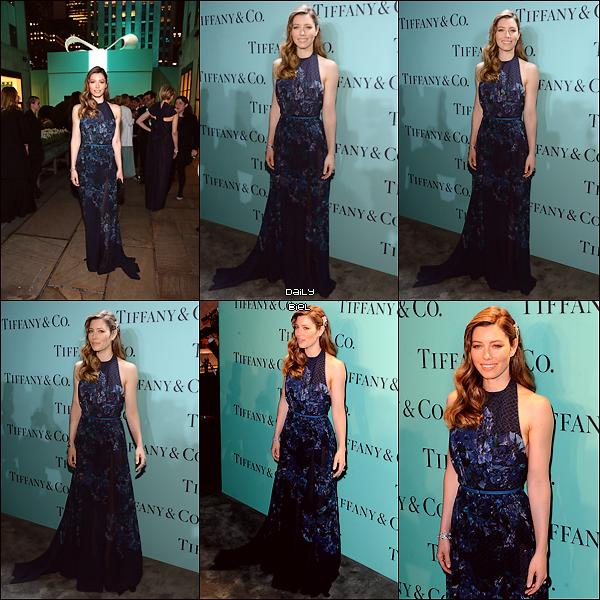 """Le 18/04 : Jessica était présente à l'événement """"Blue Book Ball"""" organisé par la marque de bijoux """"Tiffany & Co."""" au Rockefeller Center, à New York"""