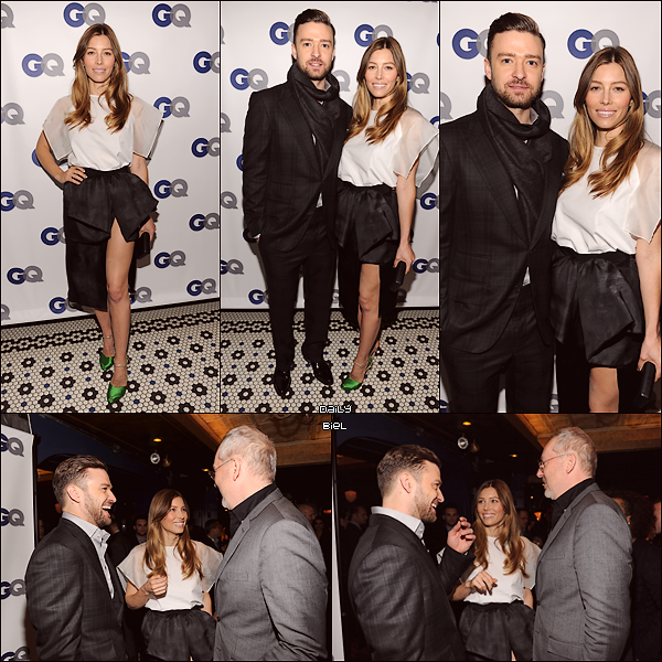 "Le 12/11 : Jessica était présente à l'évènement ""GQ Men Of The Year"" (Justin Timberlake) à New York"