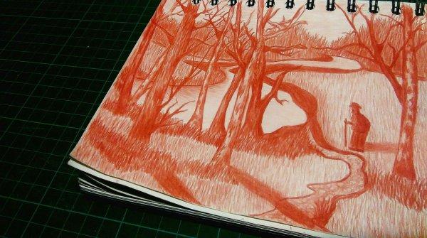 Vive l'automne!😃😍 J'ai qu' une oeuvre à la sanguine qui date un peu..et très peu de paysages..Gros bisouus...