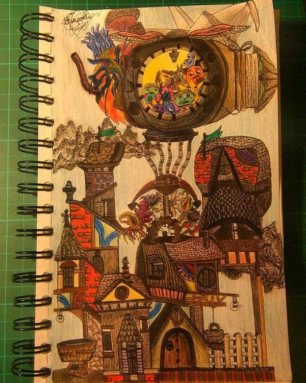 Voilà:), 1 feuille, un feutre 0,1 et mon esprit. une illustration style kerby❤