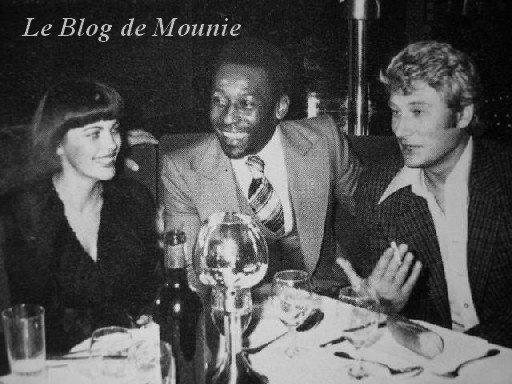 Mireille Mathieu, le footballeur Pelé et Johnny Hallyday