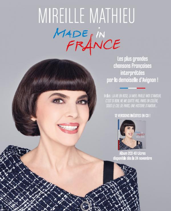 """Mireille à la radio et à la télévision cette semaine à l'occasion de la sortie de son CD """"Made in France"""" le 24 novembre."""