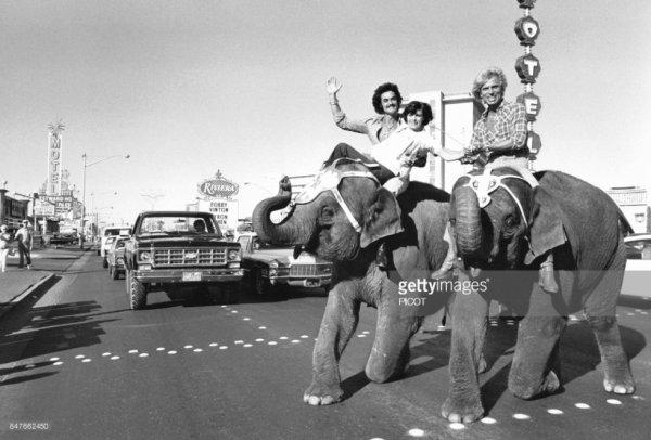 Mireille Mathieu,  Roy et Siegfried sur des éléphants à Las Végas